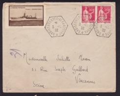 France1932UsageEnveloppe Postée Sur Le Croiseur école Jeanne D'Arc - Storia Postale