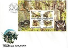 BURUNDI ,   FDC,   Owls   /       Lettre De Première,   Hiboux, Chouettes   2011 - Eulenvögel