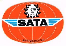 Sticker  - AVIATION - SATA Switzerland 1976-10ans   T11 - Stickers