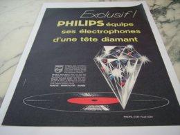 ANCIENNE PUBLICITE ELECTROPHONE EQUIPE TETE DIAMENT DE PHILIPS 1961 - Music & Instruments