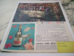 ANCIENNE  PUBLICITE FLORILEGE POUR  NOEL VIN HENRI MAIRE  1961 - Alcohols
