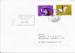 SUISSE -  AARAU - CHECKAMT  -  SUR LETTRE RECOMMANDEE   -  CACHETS 1983 - 1882-1906 Wappen, Stehende Helvetia & UPU