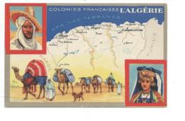 Chromo 14 X 9 Cm ALGÉRIE Dromadaire Palanquin Colonies Françaises Carte Géographique Pub: Lion Noir TB 2 Scans - Chromos