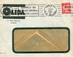 Enveloppe - Flamme DONNEZ AU SECOURS NATIONAL L'ENTRAIDE D'HIVER - Cachet PARIS 1941, Sur Enveloppe Logo OLIDA. - Annullamenti Meccanici (pubblicitari)