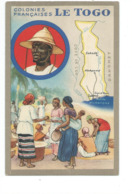 Chromo 14 X 9 Cm TOGO Colonies Françaises Carte Géographique Pub: Lion Noir TB 2 Scans - Trade Cards