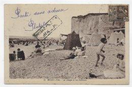 (RECTO / VERSO) MESNIL VAL EN 1931 - N°16 - LA PLAGE AVEC PERSONNAGES ET LES FALAISES - BEAU TIMBRE - CPA VOYAGEE - Mesnil-Val