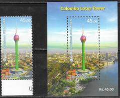 SRI LANKA, 2019, MNH,  TOWERS, COLOMBO LOTUS TOWER, CITY PANORAMIC VIEW, 1v+ S/SHEET - Architektur