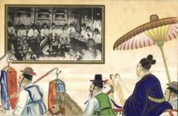 Korea Coree, Native People At Korean Feast, Artist Signed TO (1910s) Postcard - Korea, South