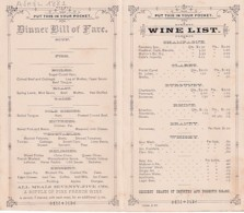 BILL OF FARE    ON THE ROCK ISLAND ROUTE         DINNER BILL OF FARE  + WINE LIST - Menus
