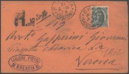 1891 EFFIGIE C.45 (46) Isol. Su Raccomandata Brescia (21.2) - 1878-00 Umberto I
