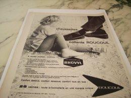 ANCIENNE PUBLICITE CHAUSETTES ET COLLANTS DE ROUCOUL 1961 - Vintage Clothes & Linen