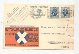 Entier Postal , Carte Illustrée , BRUXELLES , BRUSSEL , 1933,poudres De La CROIX BLANCHE , E. Cuvelier, Belgique - Enteros Postales