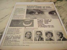 ANCIENNE PUBLICITE LUNETTE ORMA 2000 1961 - Vintage Clothes & Linen