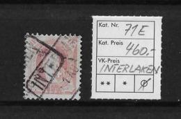 1882 - 1906 STEHENDE HELVETIA Gezähnt → SBK-71E / INTERLAKEN (BE)   ►BAHNPOST◄ - Oblitérés