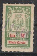 Gravina Di Puglia. Marca Municipale Diritti Di Stato Civile L. 15 - Italie