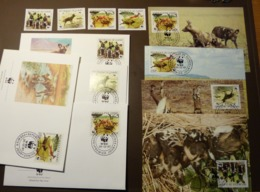 GUINEE 1987 Mi 1194-1197 WWF Animaux Hyènes African Wild Dog Afrikanischer Wildhund Maxi Card FDC MNH ** #cover 4963 - W.W.F.