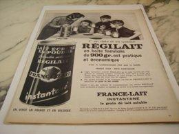 ANCIENNE  PUBLICITE BOITE FAMILIALE  REGILAIT 1961 - Posters