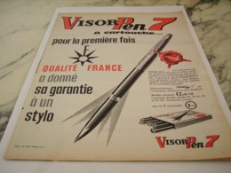 ANCIENNE PUBLICITE STYLOS  VISOR PEN 7 1961 - Other Collections