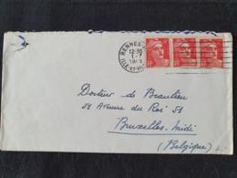 RENNES Pour La BELGIQUE - 1er Juillet 1948 - ILLE ET VILAINE - Gandon YT 721A - Marcophilie (Lettres)