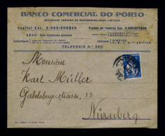 Portugal Ceres Publicitary Cover Commercial Oporto Bank To Numberg 1905  #8135 - 1910 : D.Manuel II