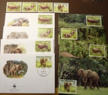Gabon 1988 WWF  Elephant Elephants Mi. 1009-12  Maxi Card FDC MNH ** #cover 4971 - W.W.F.