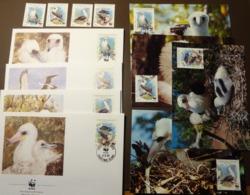 Christmas Island 1990 WWF Booby Bird Graufusstölpel/Abbott`s Booby  Mi 303-306  Maxi Card FDC MNH ** #cover 4972 - W.W.F.