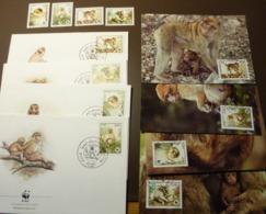 ALGÉRIE 1988  Y&T 928 à 931  Le Magot / Barbary Macaque MONKEYS Maxi Card FDC MNH ** #cover 4973 - W.W.F.