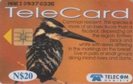Télécarte Puce NAMIBIE - ANIMAL - OISEAU - MARTIN PECHEUR - PIED KINGFISHER BIRD NAMIBIA Chip Phonecard - 4959 - Namibie