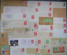 Marcophilie Lot 25 Enveloppes Oblitération Rouge - Dont 2 Devants D'enveloppes - (fragments Non Comptés) - Briefmarken