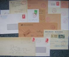 Marcophilie Lot 15 Enveloppes Ou Documents, Oblitération Rouge - Dont 2 Recommandés - (une Enveloppea été Pliée) - Briefmarken