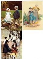 Lot 3 Cpm - BOURGOGNE - Folklore Enfants Vigneron Tonneau Bouteille Vin Raisin Blason TOURNUS Femmes Causette Meuro - Bourgogne