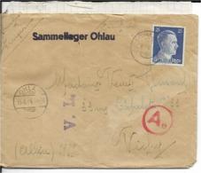 Pologne   LETTRE De OHLAU  Pour VICHY  En 1944, AVEC COURRIER .  BANDE CENSURE - Briefe U. Dokumente