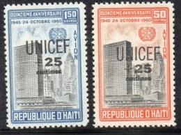APR2975- HAITI 1961 , Posta Aerea Serie Yvert N. 218/219  ***  MNH  (2380A)  Unicef - Haiti