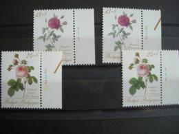 Belgique: 2280/81** Flore: Bengale Triomphnat Et Centfeuille Cristata. Numéros De Planche Complets. - Plate Numbers