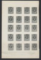 """Essai Type """"lion Couché"""" (1869 - 1878) 1 Centime Type I En Noir Sur Papier Blanc (Feuillet Non Découpé De 20 Exemplaires - Essais & Réimpressions"""