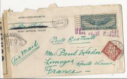 Lettre Port Arthur (Texas - USA) à Limoges En Poste Restante - 1941 - Taxée à 30 Cts - Via Air Mail - Taxes