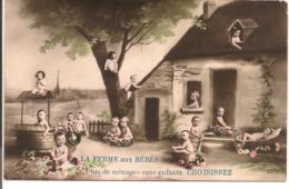 L80b188 - Groupe De Bébés, Devant Une Maison, ...- La Ferme Aux Bébés... - Mug N°257 - Cartoline Umoristiche