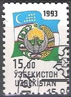 Uzbekistan 1993 Michel 31 O Cote (2006) 0.30 Euro Armoirie Et Drapeau Cachet Rond - Ouzbékistan