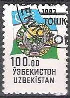 Uzbekistan 1993 Michel 33 O Cote (2006) 1.70 Euro Armoirie Et Drapeau Cachet Rond - Ouzbékistan