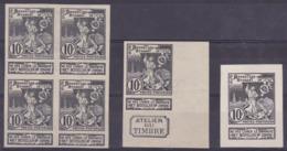 """Essai - Lot De 3 Essai Type """"Exposition"""" 10ctm Noir : Un Bloc De 4, Un Essai + BDF Et Inscription """"Atelier Du Timbre"""", E - Essais & Réimpressions"""