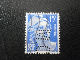 FRANCE TIMBRE GANDON 886 MC36 PERFORE PERFORES PERFIN PERFINS PERFORATION PERFORIERT LOCHUNG PERFORATI PERCE PERFO - Perforés