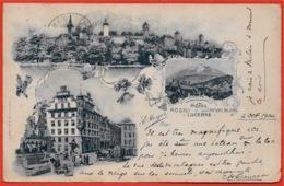 En L'état CPA AK LU LUCERNE LUZERN Hôtel RÖSSLI Du CHEVAL BLANC E. MEYER Propr. ° Hubacher & Co - LU Luzern