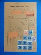 REGNO DOCUMENTO FATTURA DEL 1943 TIPOGRAFIA FRATELLI ESPOSITO PAOLA CON MARCHE DA BOLLO 1 LIRE + 2 LIRE + 5 LIRE X9 - Documenti Storici