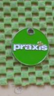 Shopping Carts / Winkelwagentjes / Jeton De Caddie - Praxis ( Groen Met Bloemen ) - Einkaufswagen-Chips (EKW)