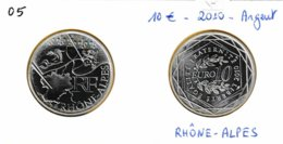 10 Euro En Argent 900 De La Région Rhône-Alpes - Armoiries Fleurs De Lys Dauphin Lion - France 2010 - France
