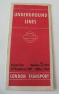 Plan Métro De Londres 1939 N°2 6 Pages WWII - Cartes