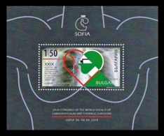 Bulgaria 2019 Mih. 5440 (Bl.483) Medicine. Congress Of The World Society Of Cardio-Vascular & Thoracic Surgeons MNH ** - Bulgaria