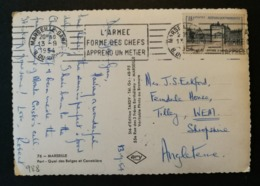 Carte Avec Oblitération Marseille Gare.N°988.Pour L'Angleterre - Postmark Collection (Covers)