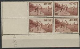 1937 / N°346 SPORTS X4 Bloc De Quatre Avec Coin Daté Du 4/5/37. Neufs Sans Charnières ** (MNH). Cote 14€. TB - Dated Corners