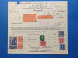 REGNO DOCUMENTO FATTURA DEL 1942 VEMBI MACCHINE BURROUGHS MILANO CON MARCHE DA BOLLO VITTORIO EMANUELE III - Documenti Storici